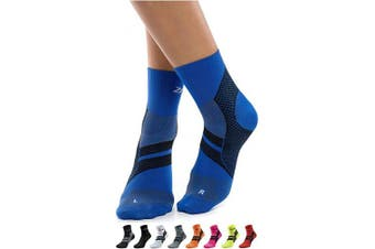 (Blue/Black, Large) - ZaTech Plantar Fasciitis Brace Sock, Compression Socks for Men & Women. Heel, Arch, Achilles, Light Ankle Support Brace. . , Reduce Swelling, Foot Pain & Tendonitis Relief & Recovery