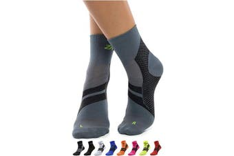 (Grey/Black, Large) - ZaTech Plantar Fasciitis Brace Sock, Compression Socks for Men & Women. Heel, Arch, Achilles, Light Ankle Support Brace. . , Reduce Swelling, Foot Pain & Tendonitis Relief & Recovery