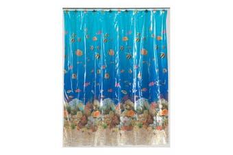(Sealife) - Carnation Home Fashions SCV-SL 72 in. x 72 in. Sealife 5 Gauge Vinyl Print Shower Curtain