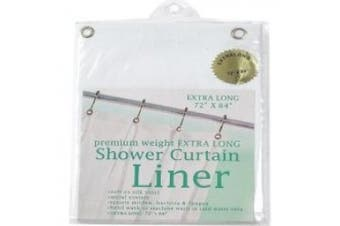 (180cm  by 210cm , White) - Carnation Home Fashions SC-XLHG/21 Extra Long Heavy 8 Gauge Vinyl Shower Curtain Liner - White and Super Clear