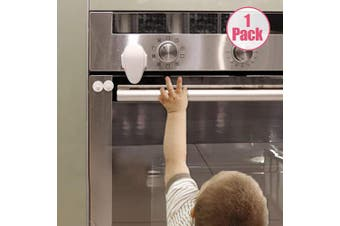 (1 Pack, White) - EUDEMON Childproof Oven Door Lock, Oven Front Lock Easy to Instal and Use Use 3M Adhesive no Tools Need or Drill (White)