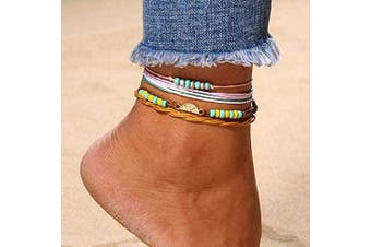 Yean Boho Layered Anklet Turquoise Ankle Foot Chain Multi-coloured Beach Foot Jewellery for Women and Girls