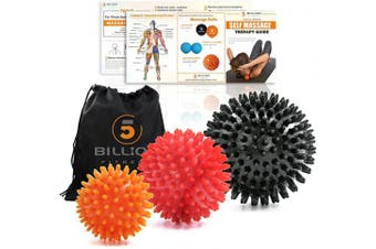 (spiky) - 5BILLION Massage Balls - Lacrosse Balls, Massage Tennis Balls, Stress Balls - Deep Tissue Massage Tool for Myofascial Release, Muscle Relax, Physical Therapy (spiky)