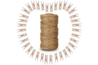 100PCS Wooden Photo Clips, 3.5CM Clothespins with 100M Natural Jute Twine Perfect for DIY Lover (Natural)