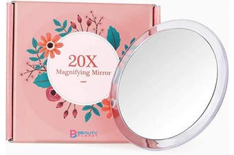 (13cm , Silver) - Updated 2020 Version, 13cm , 20X Magnifying Mirror with Three Suction Cups, Use for Makeup Application, Tweezing, and Blackhead/Blmish Removal. (13cm , Silver)