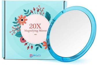 (13cm , Blue) - Updated 2020 Version, 13cm , 20X Magnifying Mirror with Three Suction Cups, Use for Makeup Application, Tweezing, and Blackhead/Blmish Removal. (13cm , Blue)