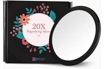(13cm , Black) - Updated 2020 Version, 13cm , 20X Magnifying Mirror with Three Suction Cups, Use for Makeup Application, Tweezing, and Blackhead/Blmish Removal. (13cm , Black)