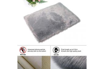 (Grey, 80 X 180 CM Square) - HEQUN New 2019 Upgraded Non-Slip Faux Fur Rug, Fluffy Rug, Shaggy Rugs,Faux Sheepskin Rugs Floor Carpet for Bedrooms Living Room Kids Rooms Decor (Grey, 80 X 180 CM Square)