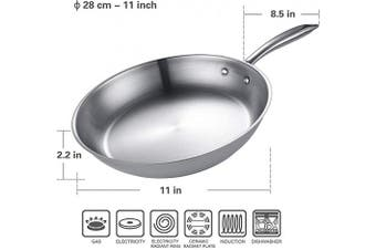 Eono by Amazon Frying Pan Stainless Steel Large Induction Pan Anti Scratch Skellet with Heat-Resistant Handle Omelette Pan Skillet Oven Safe, for All hobs, 28 cm, JP-S-2850