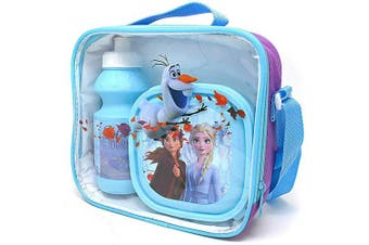Disney Frozen Lunch Bag Kids 3 Piece Thermal School Lunch Set with Bottle