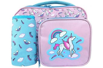 (Pink) - ZCOINS Kids Lunch Bag for Girls with Bottle Holder, Children Unicorn Lunch Box -PINK (Pink)