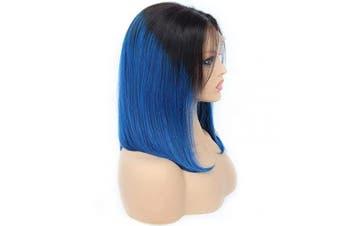 (12, T1B/Blue) - CCmargue Bob Human Hair Wigs with Bangs 30cm Short Bob Human Hair Wigs No Lace Wigs (12, T1B/Blue)