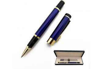 (Blue) - Accod Classic Business Metal Ballpoint Pen Signature Pen Rollerball Gel Pen High-end Gift Box with Two Replaceable Refills for Office Family and Business Partners (Blue)