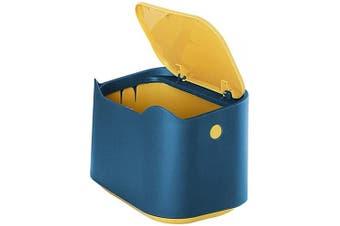 Trash Can Desk Bin with Press-Type Lid, Mini Portable Desk Rubbish Bin Bed Office Trash Can, Waterproof Table Top Dustbin Trash Can for Home Living Room Kitchen Bedroom Bathroom Office Dust Bin(Blue)