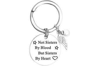 ABEBCIAO Friendship Keychain for Women Not Sisters by Blood but Sisters by Heart Key Chain for Teen Girls Best Friend Birthday Graduation Christmas Gifts