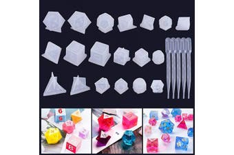 Juanya 19 Styles Silicone Resin Casting Moulds Resin Dice Moulds, Polyhedral Game Dice Moulds Multi-spec Digital Letter 3D Silicone Moulds, Epoxy Resin Dice Moulds for DIY Table Games