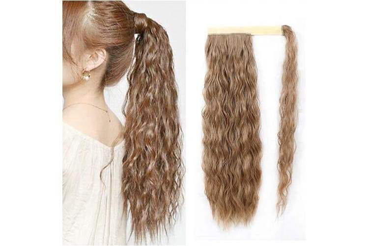 (Wrap Around Corn Ponytail, 12/24#) - Rosa Star Long Corn Wave Ponytail Extension Magic Paste Heat Resistant Curly Wavy Synthetic Hairpiece Wrap Around Corn Ponytail for women (12/24#)