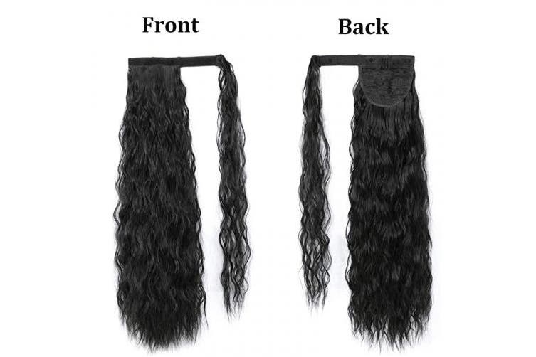 (Wrap Around Corn Ponytail, Black 1B#) - Rosa Star Long Corn Wave Ponytail Extension Magic Paste Heat Resistant Curly Wavy Synthetic Hairpiece Wrap Around Corn Ponytail for women (Black 1B#)