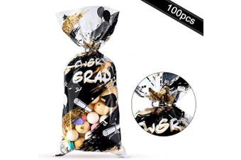100 Pieces Graduation Plastic Treat Bags, Congrats Graduates Clear Cellophane Bags Goodie Gift Favours Candy Wrapping Bags with 100 Silver Twist Ties for Graduation Day Grad Party Supplies (Black Gold)