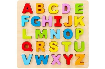(Uppercase Letter) - Babe Rock Alphabet Puzzle Wooden ABC Letter Puzzle for Toddlers Preschool Learning Early Educational Toys for Baby Girls Boys 1 . Old (Capital Letter)