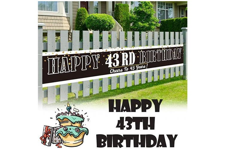 (43) - LINGPAR 3m x 0.5m Large Sign Happy 43th Birthday Banner - Cheers to 4 . Old Decor