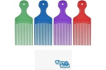 Kare & Kind Hair Pick Comb - 4 pcs - Ideal for Curly, Wavy, Afro Hair - For Hair Styling, Hairdressing, Detangle and Lift Hair - Smooth, Gentle Comb for Men, Women - Gift - Green, Blue, Purple and Red