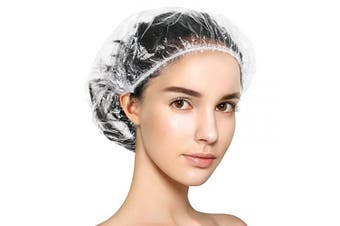 Keeygo Shower Cap Disposable, 30 PCS Bath Caps Large Thick Clear Waterproof Plastic Elastic Hair Bath Caps for Women Kids Girls, Travel Spa, Hotel and Hair Solon, Home Use … (transparent)