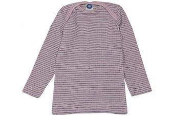(50/56 cm, Pink/Plum/Natural) - Cosilana - Baby T-Shirt Long Sleeve, 45% Organic Cotton, 35% Organic Merino Wool, 20% Silk