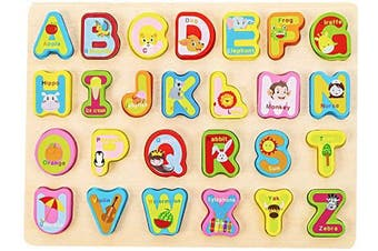 (Alphabet) - Wooden Puzzles for Toddlers Alphabet ABC Puzzles Learning Board Toys for 2-5 Years Old Kids Toddlers