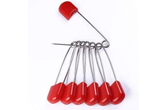 (Red) - AnMiao Star 5.1cm Long 50 Pcs Plastic Head Safety Pin for Blankets, Skirts, Kilts, Knitted Fabric,Crafts (Red)