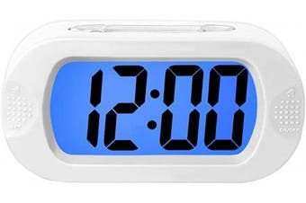 (White) - Digital Alarm Clock with Silicone Snooze Case, Simple Setting, Progressive Alarm, Battery Operated, Shockproof, The Ideal Gift Clock for Kids Convenient White