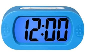 (Blue) - Digital Alarm Clock with Silicone Snooze Case, Simple Setting, Progressive Alarm, Battery Operated, Shockproof, The Ideal Gift Clock for Kids Convenient Blue