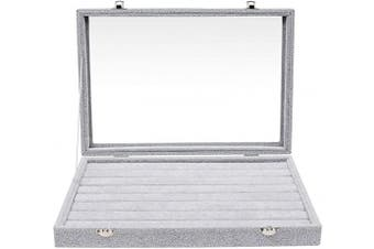 BELLE VOUS Ring Organiser - Cufflink Storage Box with Transparent Lid - Velvet Finish Jewellery Display Tray with 2 Integrated Safety Locks - 7 x Slots for Jewellery, Ring, Earring – Grey
