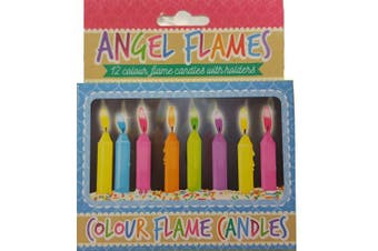 (1, Pack of 12) - Henbrandt Coloured Birthday Cake Candles - Pack of 12
