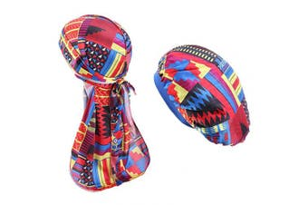 (Multicolor 2) - BUYITNOW Unisex Velvet Durag Long Tail and Printing Hair Wrap Sleeping Bonnet Hat Set for Men Women, Waves, Frizzy Curly Hair, Multicolor 2, One Size