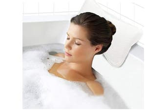 (white) - Portable Bath Pillow Breathable Soft Easy to Use Fits Any Tub Nap Rest (white)
