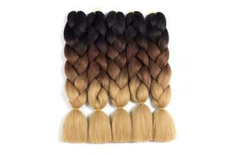 (5pcs, Black/Dark Brown/Light Brown) - Ombre Braiding Hair Kanekalon Braiding Hair Extensions 5pcs High Temperature Three Tone Colour Synthetic Braiding Hair (5PCS, Black/Dark Brown/Light Brown)