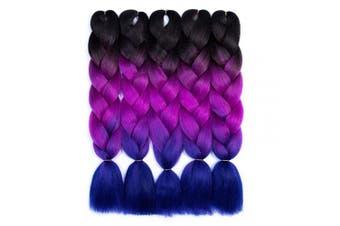 (5pcs, Black/Purple/Blue) - Ombre Braiding Hair Kanekalon Braiding Hair Extensions 5pcs High Temperature Three Tone Colour Synthetic Braiding Hair (5pcs, Black/Purple/Blue05)