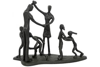 (Family of 6 Black) - Aoneky Iron Family Sculpture 6 for Couple - Metal Wedding Anniversary Figurines Present for Parents Mother Father Daughter Son - Black Art Statue for Home Decor (Family of 6)