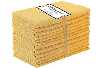 (Yellow) - Cotton Clinic 50x50 cm Cloth Napkins Set of 12, Cotton Farmhouse Grass Cloth Dinner Napkins for Wedding Party Dinner Table, Tea Party Napkins with Mitered Corners - Yellow