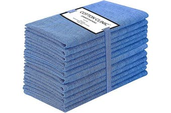 (Blue) - Cotton Clinic 50x50 cm Cloth Napkins Set of 12, Cotton Farmhouse Grass Cloth Dinner Napkins for Wedding Party Dinner Table, Tea Party Napkins with Mitered Corners - Navy Blue