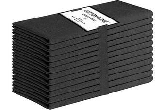 (Black) - Cotton Clinic Cloth Napkins Washable Set of 12, 44x44 cm Easycare Tea Party Napkins, Soft and Comfortable 100% Cotton Farmhouse Dinner Napkins Cloth for Wedding Party Dinner Table - Black