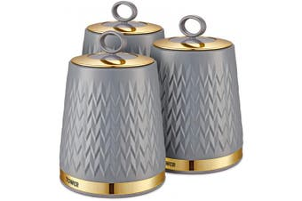 (One Size, Grey) - Tower T826091GRY Empire Kitchen Storage Canisters, Tea Coffee Sugar Set with Steel Body and Stylish Art Deco Design, Grey
