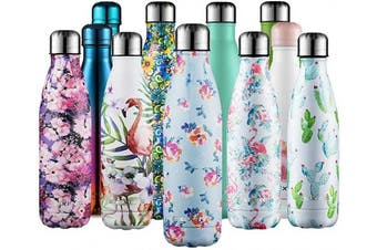 (Flower blue, 500ml) - CMXING Stainless Steel Vacuum Insulated Water Bottle Reusable Double Walled Drinks Bottle Flask Standard Mouth-12 Hours Hot & 24 Hours Cold - 500ml & 750ml-Non-Toxic BPA Free
