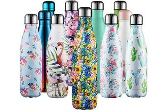 (Flower yellow, 750ml) - CMXING Stainless Steel Vacuum Insulated Water Bottle Reusable Double Walled Drinks Bottle Flask Standard Mouth-12 Hours Hot & 24 Hours Cold - 500ml & 750ml-Non-Toxic BPA Free
