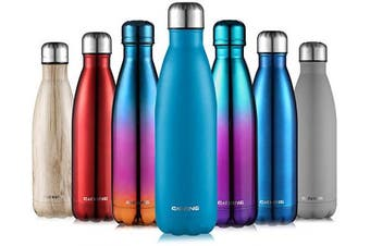 (Sprayed blue, 500ml) - CMXING Stainless Steel Vacuum Insulated Water Bottle Reusable Double Walled Drinks Bottle Flask Standard Mouth-12 Hours Hot & 24 Hours Cold - 500ml & 750ml-Non-Toxic BPA Free