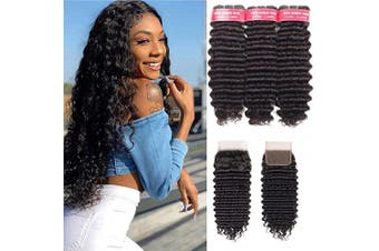 (14 16 18+30cm ) - Beaudiva Hair Deep Wave Bundles with Closure(14 16 18+30cm ), 9A Brazilian Virgin Hair Deep Weave 100% Unprocessed Human Hair With 4×4 Free Part Lace Closure