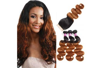 """(20""""22""""24""""+Closure18) - Alisfeel 8A Brazilian Virgin Hair With Closure Brazilian Body Wave With Closure Ombre 3 Bundles Blonde Human Hair Weave With Lace Closure (20""""22""""24""""+Closure18)"""