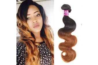 (1 Bundle 41cm ) - Ombre Brazilian Body Wave 1 Bundle, Colour 1B/30 100% Unprocessed Virgin Human Hair Weave,10A Grade Dark Brown Ombre Brazilian Hair Extensions (1 Bundle 41cm )
