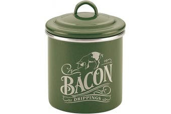 (Basil Green) - Ayesha Curry 47989 Enamel on Steel Bacon Grease Can / Bacon Grease Container - 10cm , Green